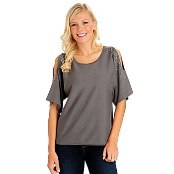 709-975 - Love, Carson by Carson Kressley Short Sleeved Scoop Neck Cold Shoulder Top