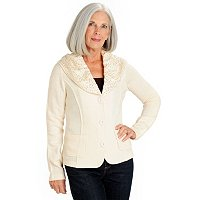 Love Carson Shawl Collar Cardiagn with Gold Sequins