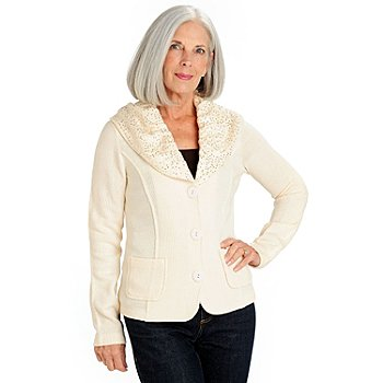709-977 - Love, Carson by Carson Kressley Sweater Knit Sequined Collar Cardigan