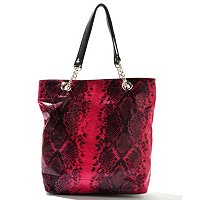 Chateau Snake Embossed Chain-Linked Double Handle Tote