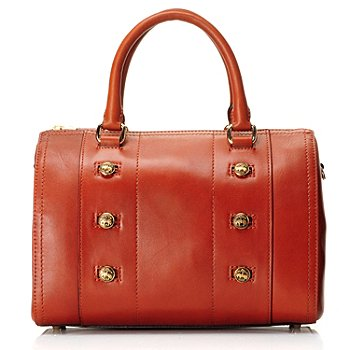 709-993 - Brooks Brothers® Calfskin Leather Button Detailed Double Handle Barrel Satchel Bag