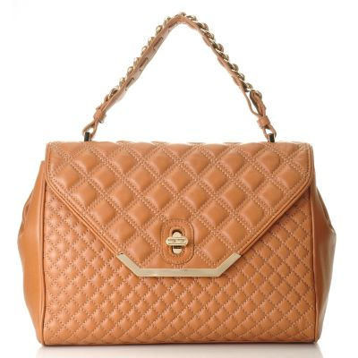 709-996 - Brooks Brothers® Quilted Lambskin Front Flap Top Handle Satchel