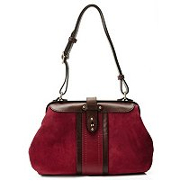 Brooks Brothers Kid Suede Contrast Frame Handbag