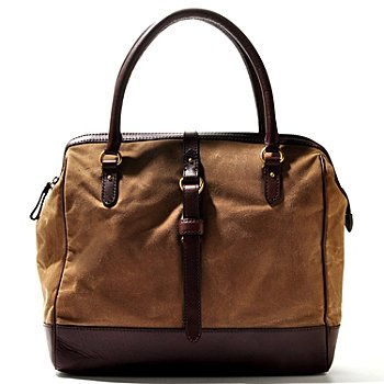 710-003 - Brooks Brothers® Canvas Zip Top Double Handle Bowler Handbag