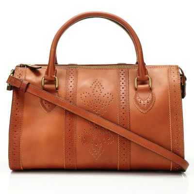 710-007 - Brooks Brothers® Perforated Calfskin Medium Barrel Satchel Handbag