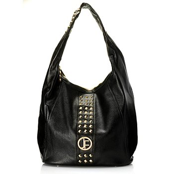 710-010 - Jack French London ''Camden'' Studded Zip Top Pebbled Leather Hobo Bag