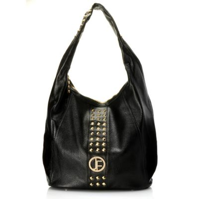 "710-010 - Jack French London ""Camden"" Studded Zip Top Pebbled Leather Hobo Bag"
