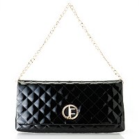JACK FRENCH LONDON BURLINGTON QUILT PATENT LEATHER CLUTCH WITH CHAIN DETAIL