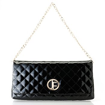 710-022 - Jack French London Patent Leather ''Burlington'' Quilted Clutch w/ Chain Handle