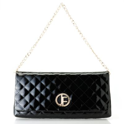 "710-022 - Jack French London Patent Leather ""Burlington"" Quilted Clutch w/ Chain Handle"