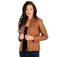 Kate & Mallory Ruffle No Closure Faux Leather Jacket