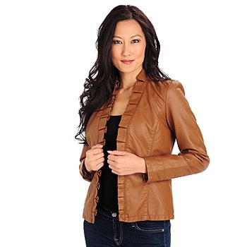 710-024 - Kate & Mallory Faux Leather Ruffle Trimmed Open Front Jacket