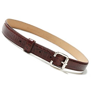 710-041 - Brooks Brothers® Square Buckle Reptile Embossed Leather Belt