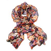 Brooks Brothers Ruched Floral Oblong Scarf
