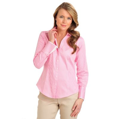 710-079 - Brooks Brothers® Stretch Cotton Button Down French Cuffed Stripe Blouse