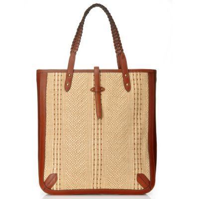 710-099 - Brooks Brothers® Woven Nylon Straw Double Braided Handle Large Tote Bag