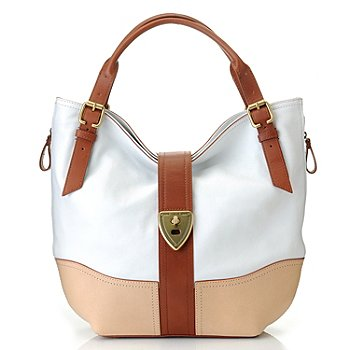 710-106 - Brooks Brothers® Calfskin Leather Double Handle Large Hobo Handbag