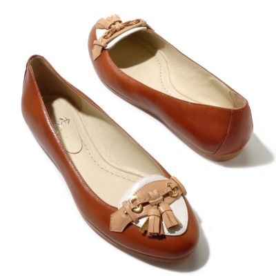 "710-117 - Brooks Brothers® Calfskin Leather ""Spectator"" Tassel Detailed Ballet Flats"