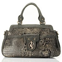 HEATHER CROCO EMBO MATTE LEATHER SATCHEL