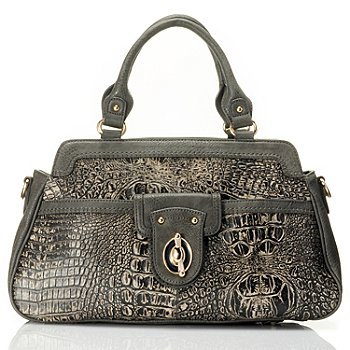 710-128 - Madi Claire ''Heather'' Crocodile Embossed Swing Lock Leather Satchel