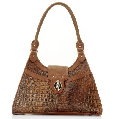 "710-129 - Madi Claire ""Heather"" Three Compartment Crocodile Embossed Leather Tote Bag"