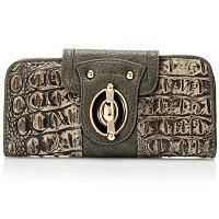 HEATHER CROCO EMBO MATTE LEATHER WALLET