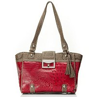 SARAH CROCO EMBO LEATHER TOTE