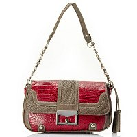 SARAH CROCO EMBO LEATHER SATCHEL