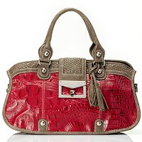 SARAH CROCO EMBO LEATHER SHOULDER BAG