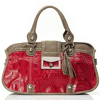 710-133 - Madi Claire Croco Embossed Leather ''Sarah'' Zip Top Satchel