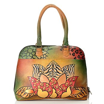 710-145 - Anuschka Hand Painted Leather Zip Around Double Handled Satchel