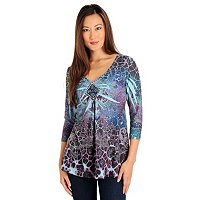 One World Sublimation Print Sweater Knit with Bead Embellishment