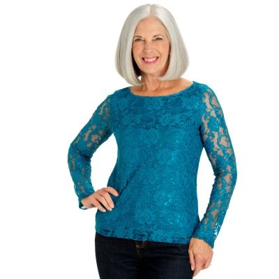 710-147 - Kate & Mallory Stretch Lace Long Sleeved Scoop Neck Lined Top