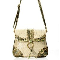 Madi Claire Connie Croco Embossed Leather Crossbody w/ Scallop Edges