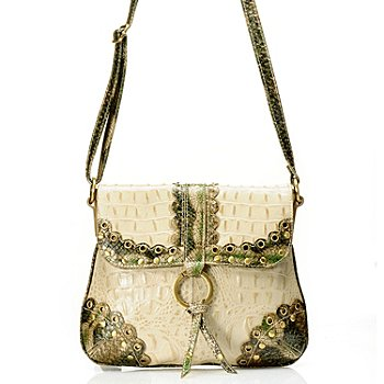 710-252 -  Madi Claire ''Connie'' Crocodile Embossed Leather Cross Body Bag