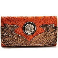 American West Tri-Fold Wallet with Boot Stitched Edging
