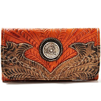 710-253 - American West Boot Stitch Design Hand Tooled Leather Tri-Fold Wallet