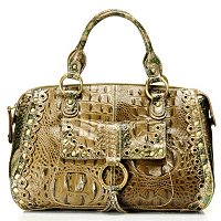 Madi Claire Connie Croco Embossed Leather Satchel w/ Scallop Edges