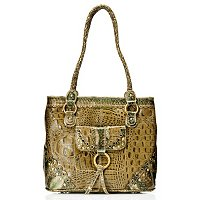 Madi Claire Connie Croco Embossed Leather Tote w/ Scallop Edges