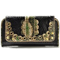 Madi Claire Connie Croco Embossed Leather Wallet w/ Scallop Edges