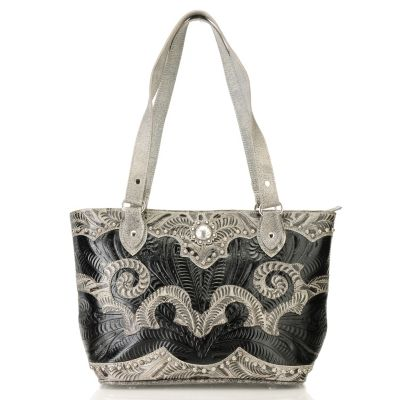 710-258 - American West Hand-Tooled Leather Swirl Design Zip Top Tote Bag