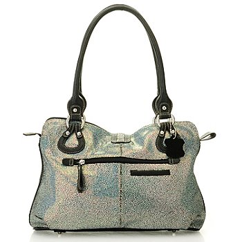 710-259 - Madi Claire ''Wendi'' Snake Printed Zip Top Leather Satchel