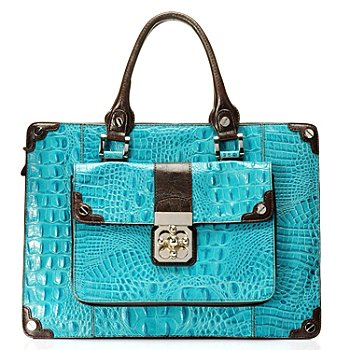 710-266 - Madi Claire Croco Embossed Leather ''Michele'' Turn Lock Briefcase
