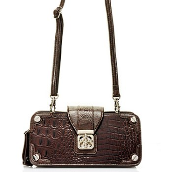 710-270 - Madi Claire ''Michele'' Crocodile Embossed Leather Organizer Cross Body Bag