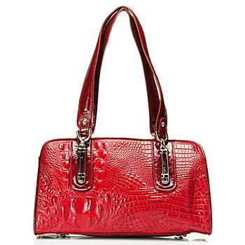710-272 - Madi Claire Croco Embossed Leather ''Melissa'' Zip Top Satchel