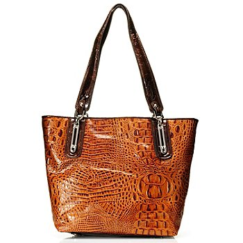 710-276 - Madi Claire ''Melissa'' Crocodile Embossed Zip Top Leather Tote Bag