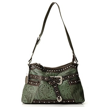 710-278 - American West Hand Tooled Leather Belted Shoulder Bag