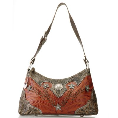 710-284 - American West Flower Design Hand Tooled Leather Shoulder Bag
