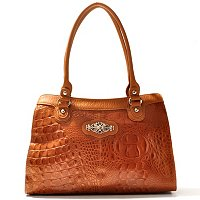 Madi Claire Kimberly Croco Embossed Leather Tote w/ Ornament