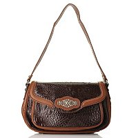 Madi Claire Kimberly Coroco Embossed Leather Shoulder Bag w/ Ornament